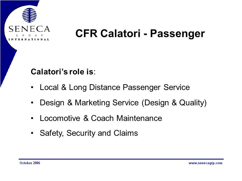 CFR Calatori - Passenger Calatori's role is: Local & Long Distance Passenger Service Design & Marketing Service (Design & Quality) Locomotive & Coach