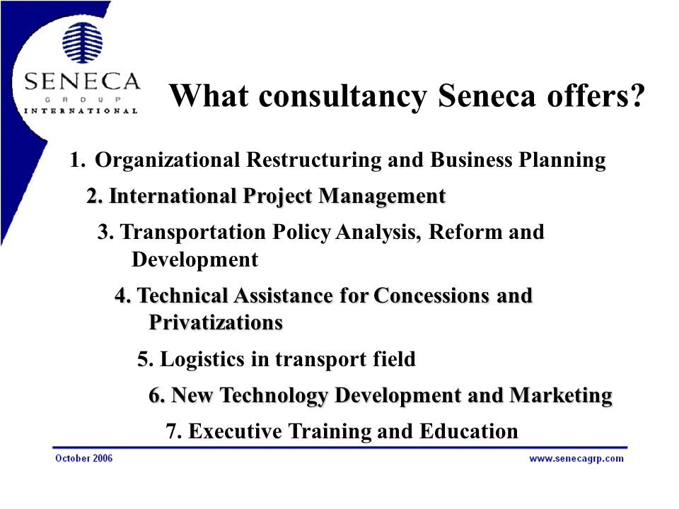 What consultancy Seneca offers. 1.Organizational Restructuring and Business Planning 2.