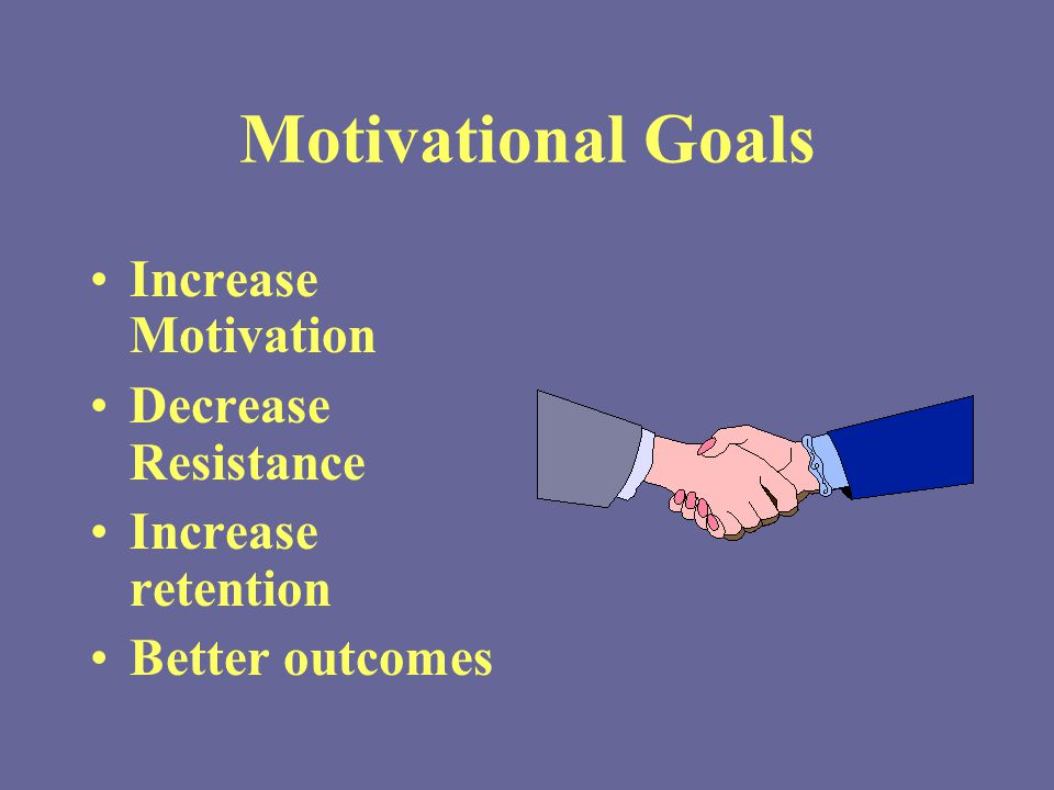 Motivational Goals Increase Motivation Decrease Resistance Increase retention Better outcomes