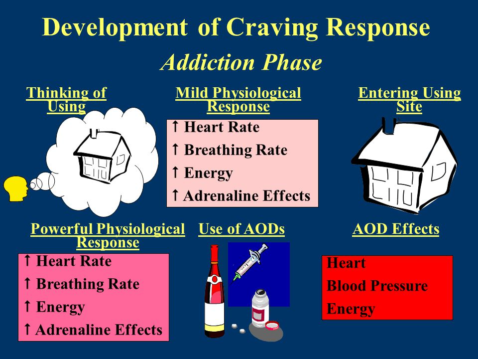 Development of Craving Response Addiction Phase Thinking of Using Mild Physiological Response Entering Using Site  Heart Rate  Breathing Rate  Energy  Adrenaline Effects Powerful Physiological Response Use of AODsAOD Effects  Heart Rate  Breathing Rate  Energy  Adrenaline Effects Heart Blood Pressure Energy