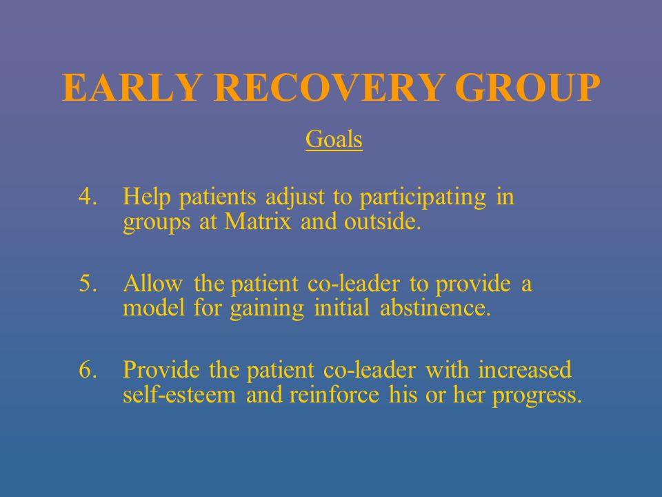 EARLY RECOVERY GROUP Goals 4.Help patients adjust to participating in groups at Matrix and outside.