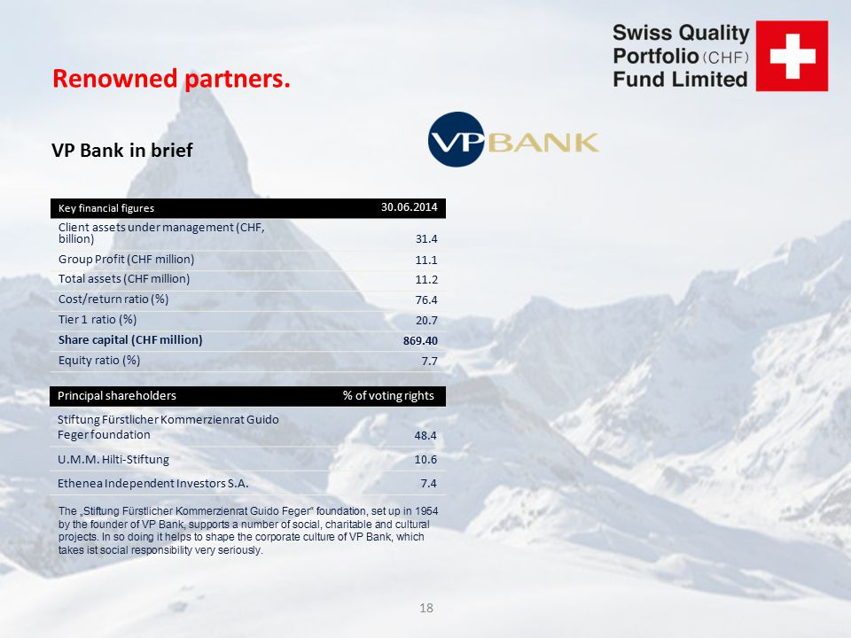 18 Renowned partners. VP Bank in brief Key financial figures 30.06.2014 Client assets under management (CHF, billion)31.4 Group Profit (CHF million) 1