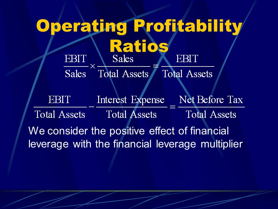 Operating Profitability Ratios We consider the positive effect of financial leverage with the financial leverage multiplier