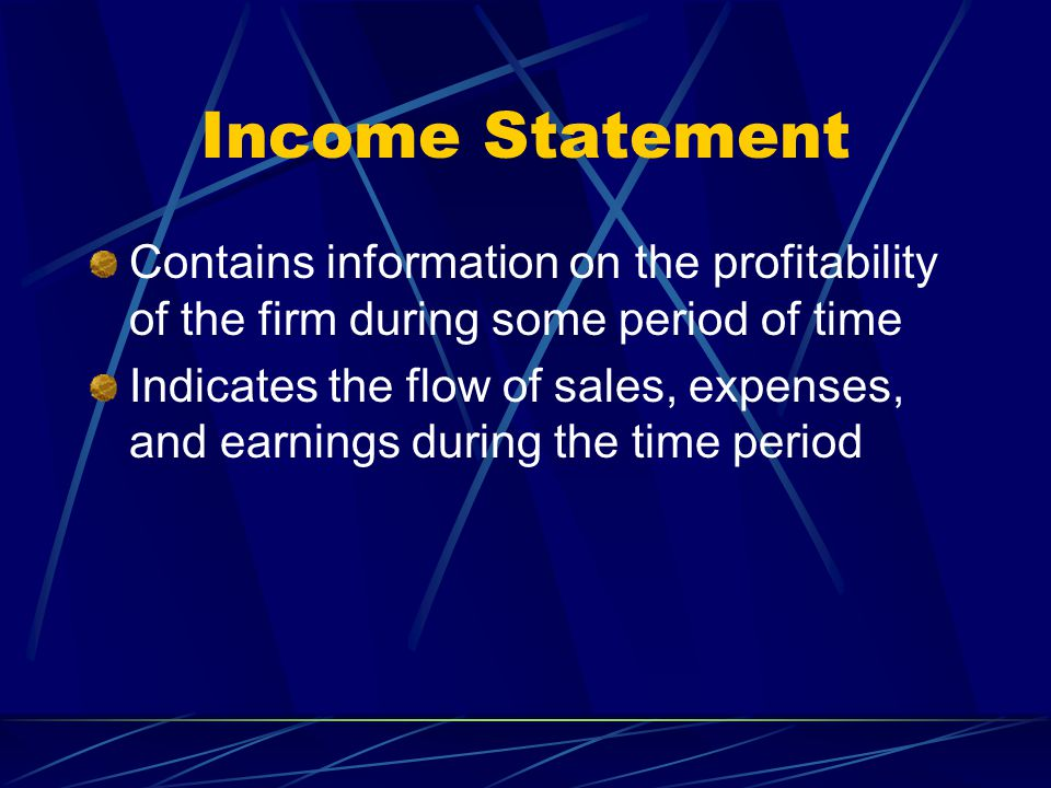 Statement of Cash Flows Integrates the information on the balance sheet and income statement Shows the effects on the firm's cash flow of income statement items and changes in various items on the balance sheet Three sections show cash flows from Operating activities Investing activities Financing activities