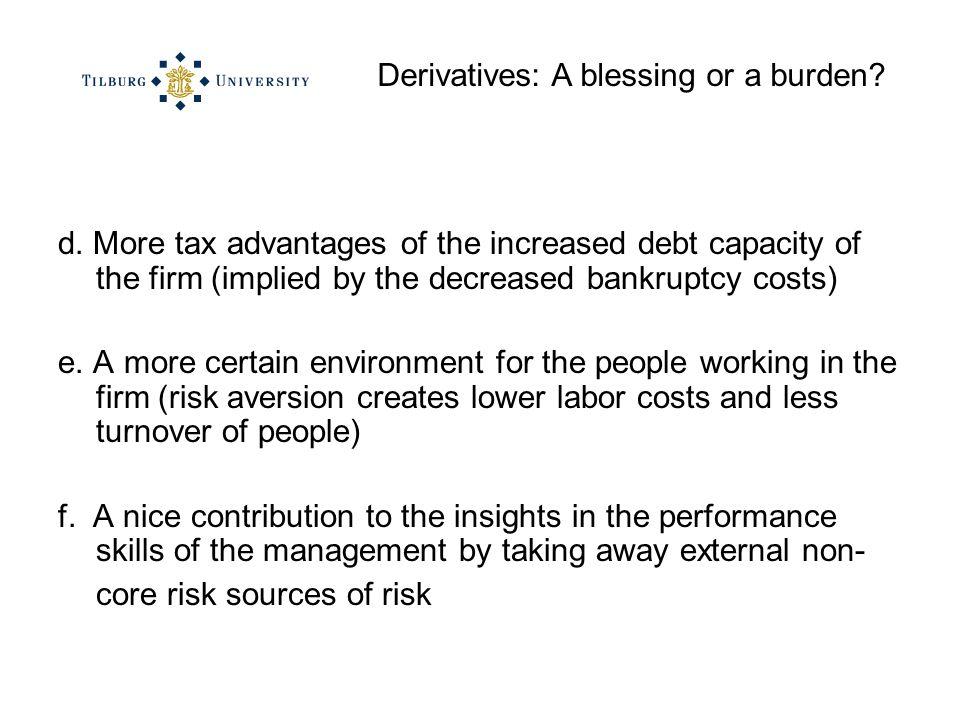 Derivatives: A blessing or a burden. d.
