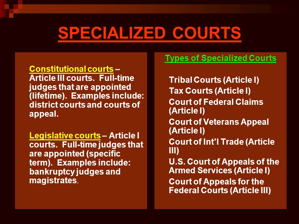 SPECIALIZED COURTS Constitutional courts – Article III courts. Full-time judges that are appointed (lifetime). Examples include: district courts and c