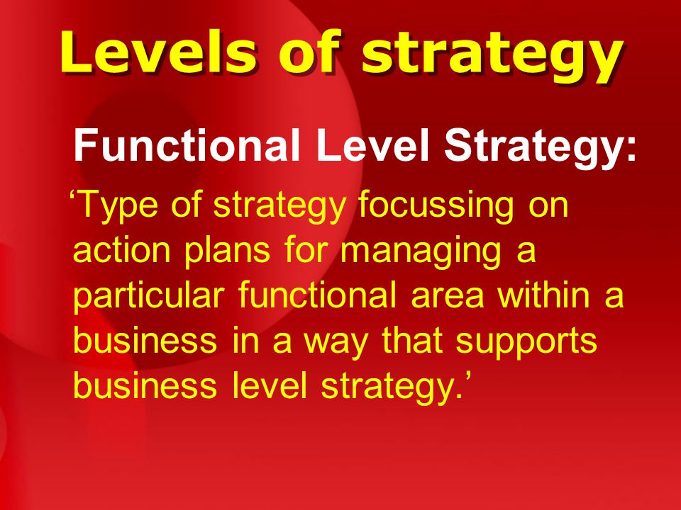 Levels of strategy Functional Level Strategy: 'Type of strategy focussing on action plans for managing a particular functional area within a business in a way that supports business level strategy.'