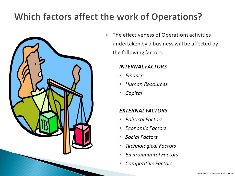 N5 Bus Man – 2.2: Operations © BEST Ltd 15 Which factors affect the work of Operations?  The effectiveness of Operations activities undertaken by a b