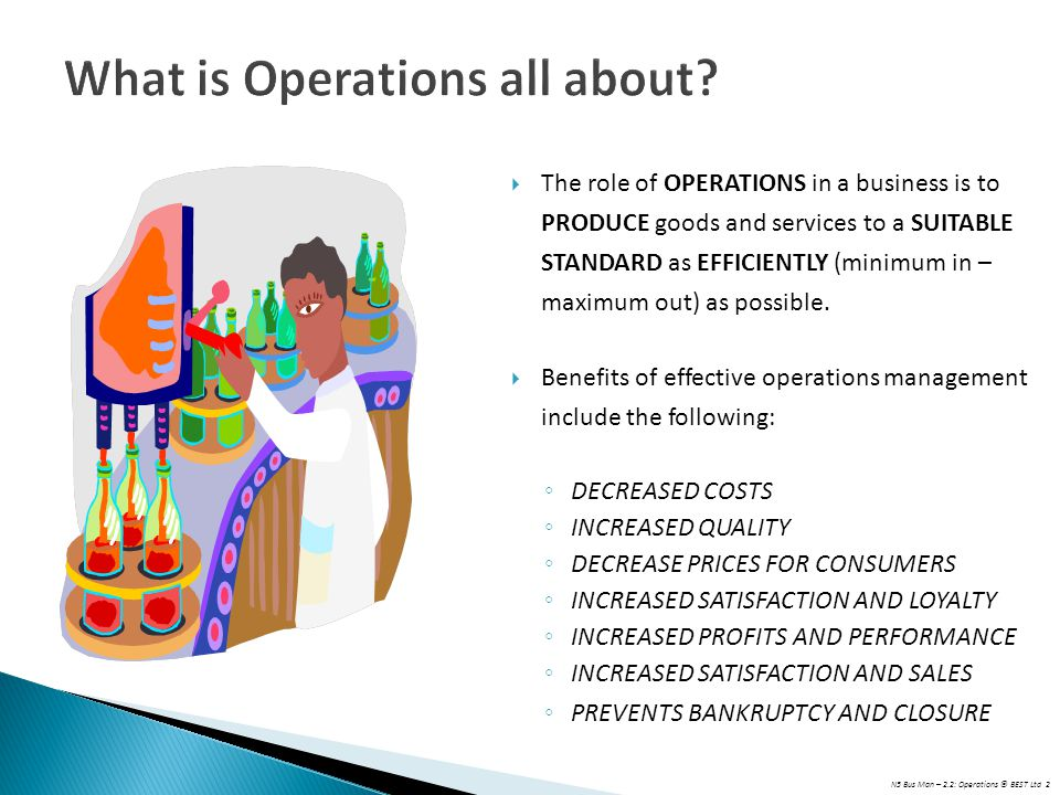 N5 Bus Man – 2.2: Operations © BEST Ltd 2 What is Operations all about?  The role of OPERATIONS in a business is to PRODUCE goods and services to a S