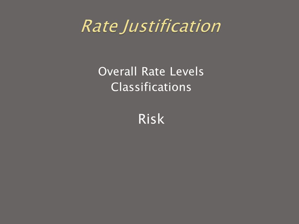 Overall Rate Levels Classifications Risk