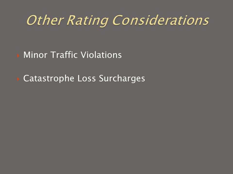  Minor Traffic Violations  Catastrophe Loss Surcharges