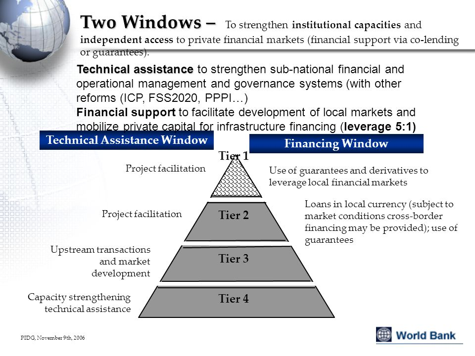 PIDG, November 9th, 2006 Two Windows – Two Windows – To strengthen institutional capacities and independent access to private financial markets (financial support via co-lending or guarantees).