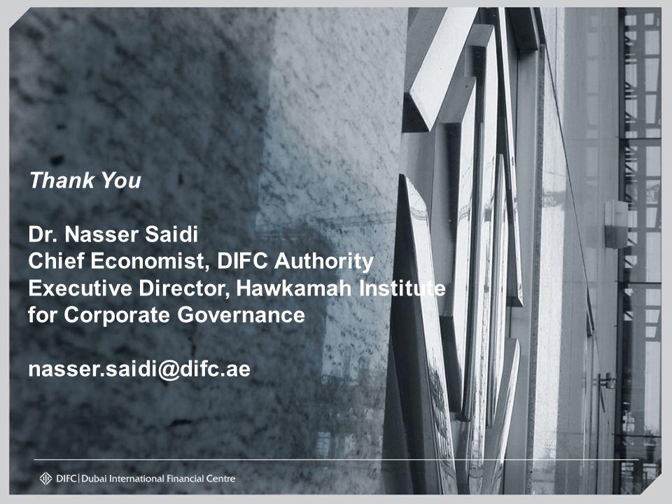 Thank You Dr. Nasser Saidi Chief Economist, DIFC Authority Executive Director, Hawkamah Institute for Corporate Governance nasser.saidi@difc.ae