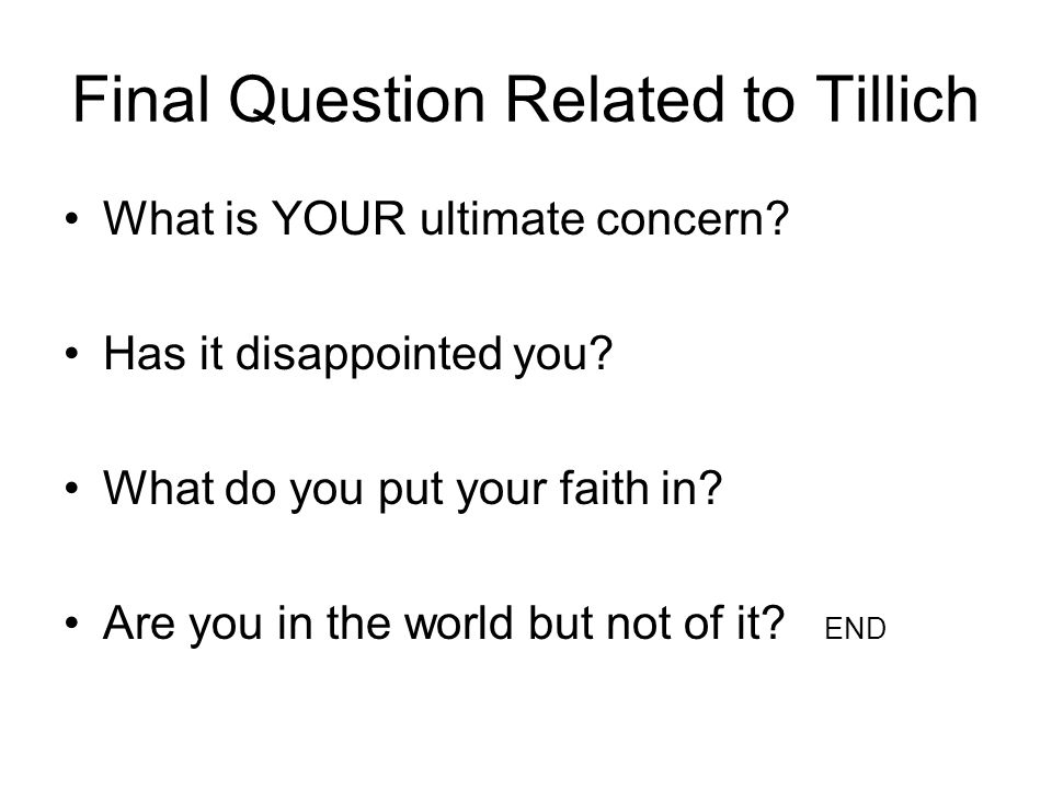 Final Question Related to Tillich What is YOUR ultimate concern.