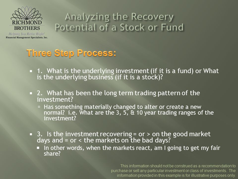  1. What is the underlying investment (if it is a fund) or What is the underlying business (if it is a stock)?  2. What has been the long term tradi