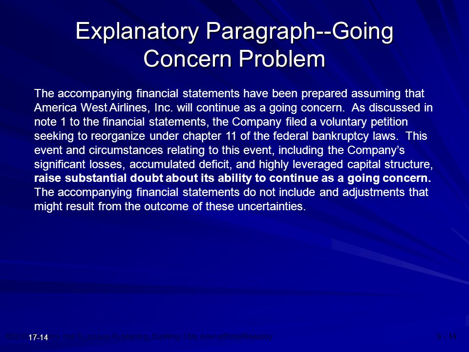 ©2010 Prentice Hall Business Publishing, Auditing 13/e, Arens/Elder/Beasley 3 - 14 17-14 Explanatory Paragraph--Going Concern Problem The accompanying financial statements have been prepared assuming that America West Airlines, Inc.