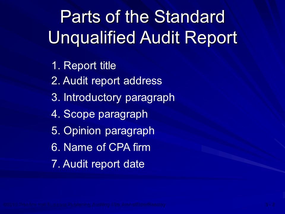 ©2010 Prentice Hall Business Publishing, Auditing 13/e, Arens/Elder/Beasley 3 - 13 17-13 Going Concern Problem Following the opinion paragraph Standard introductory paragraph Standard scope paragraph Standard opinion paragraph
