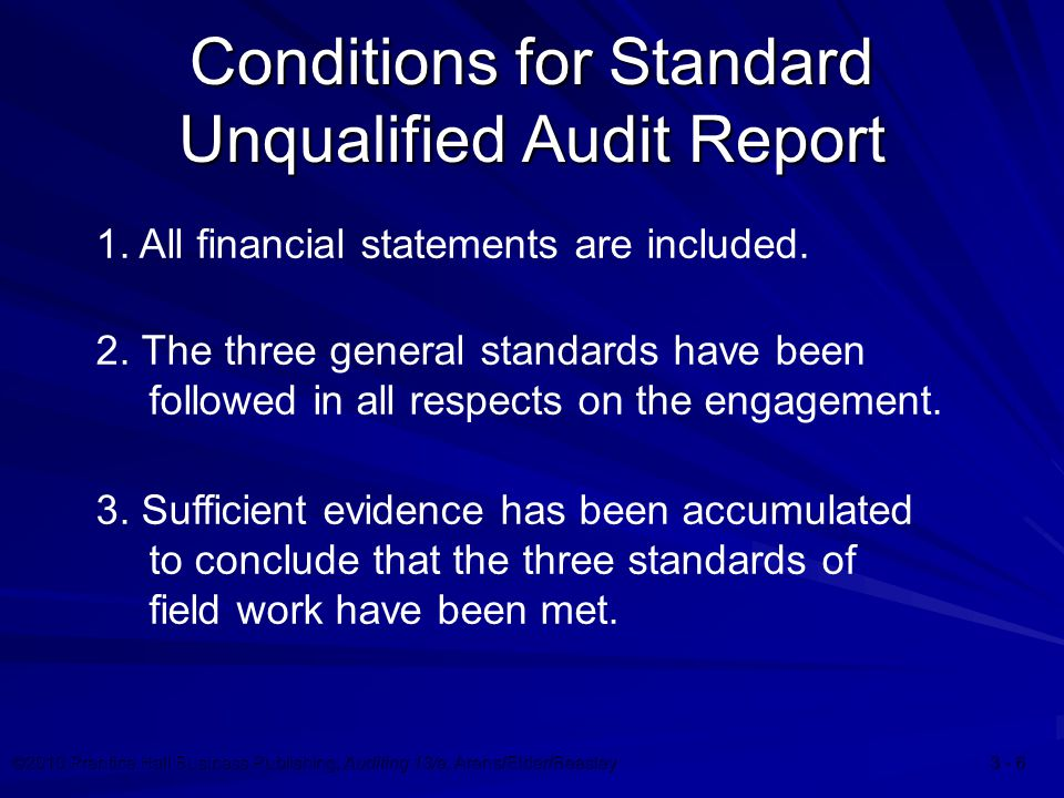 ©2010 Prentice Hall Business Publishing, Auditing 13/e, Arens/Elder/Beasley 3 - 7 Conditions for Standard Unqualified Audit Report 4.