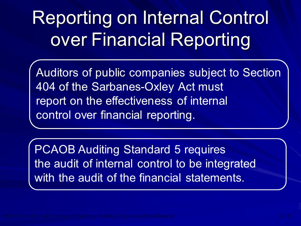 ©2010 Prentice Hall Business Publishing, Auditing 13/e, Arens/Elder/Beasley 3 - 9 Reporting on Internal Control over Financial Reporting Auditors of public companies subject to Section 404 of the Sarbanes-Oxley Act must report on the effectiveness of internal control over financial reporting.