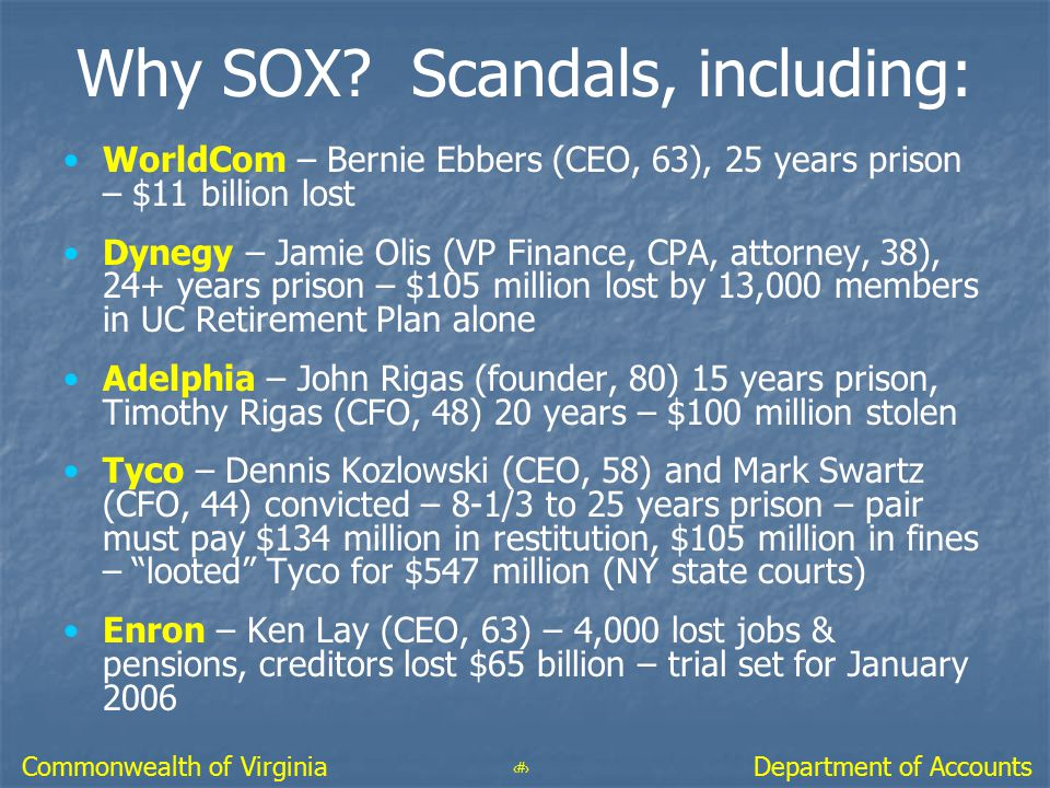 5 Department of AccountsCommonwealth of Virginia Why SOX? Scandals, including: WorldCom – Bernie Ebbers (CEO, 63), 25 years prison – $11 billion lost