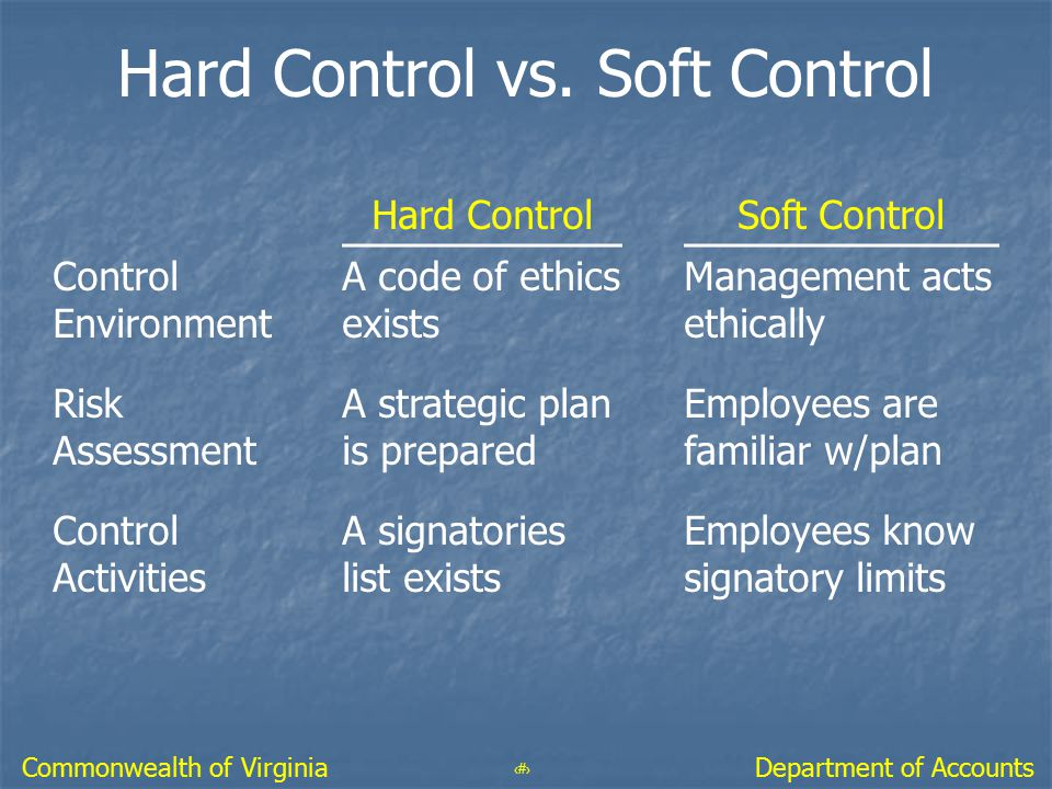 57 Department of AccountsCommonwealth of Virginia Hard Control vs. Soft Control Hard ControlSoft Control Control Environment A code of ethics exists M