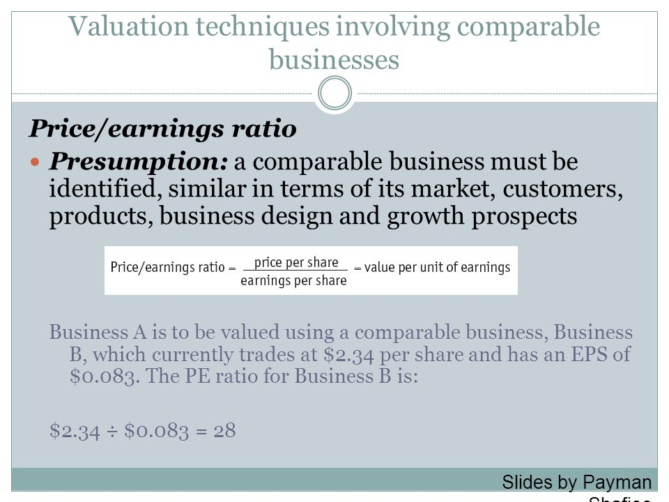 Valuation techniques involving comparable businesses Price/earnings ratio Presumption: a comparable business must be identified, similar in terms of its market, customers, products, business design and growth prospects Business A is to be valued using a comparable business, Business B, which currently trades at $2.34 per share and has an EPS of $0.083.