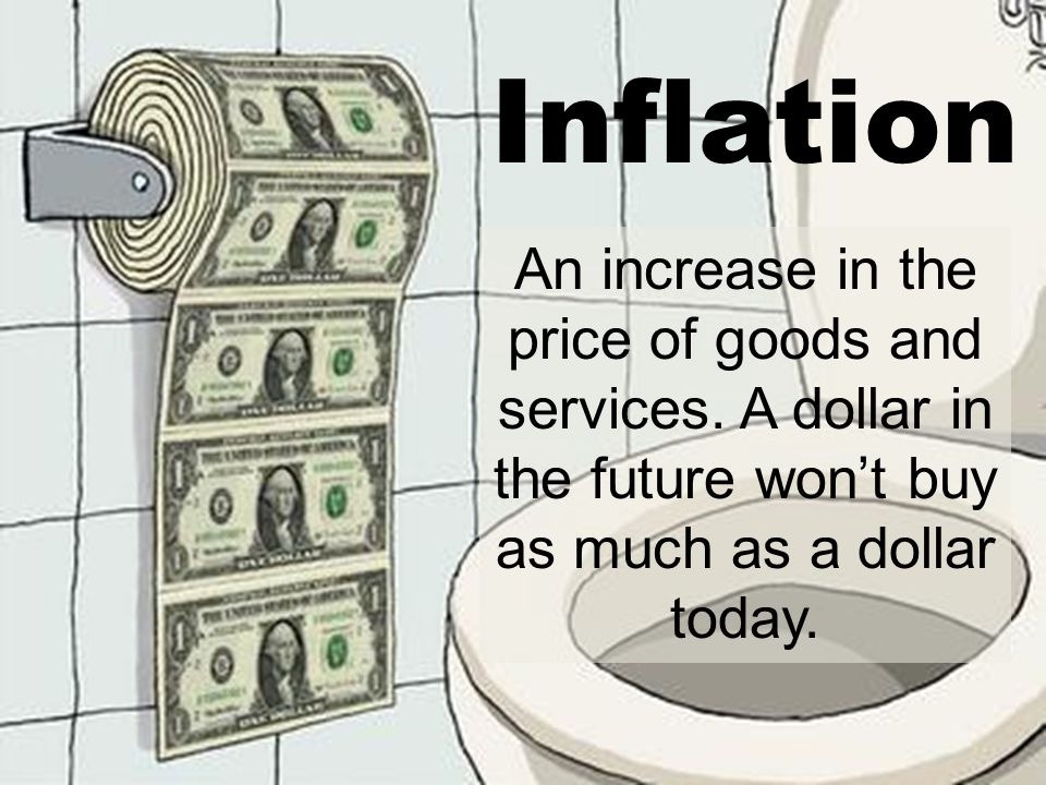 Inflation An increase in the price of goods and services.