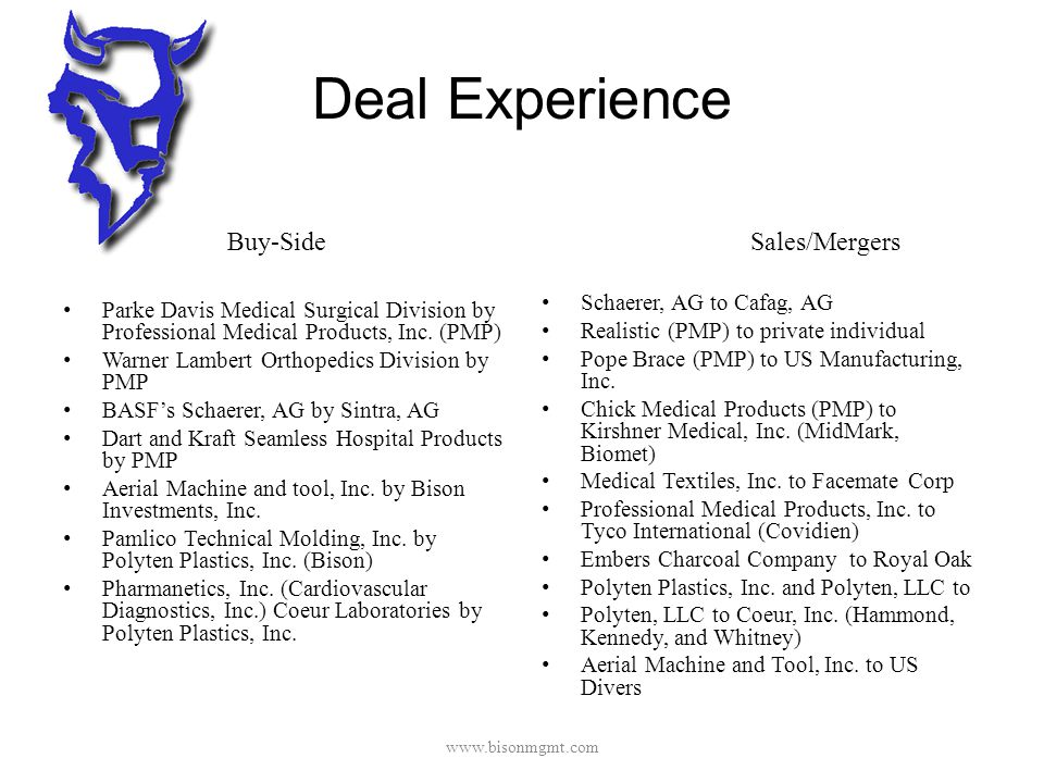 Deal Experience Buy-Side Parke Davis Medical Surgical Division by Professional Medical Products, Inc.