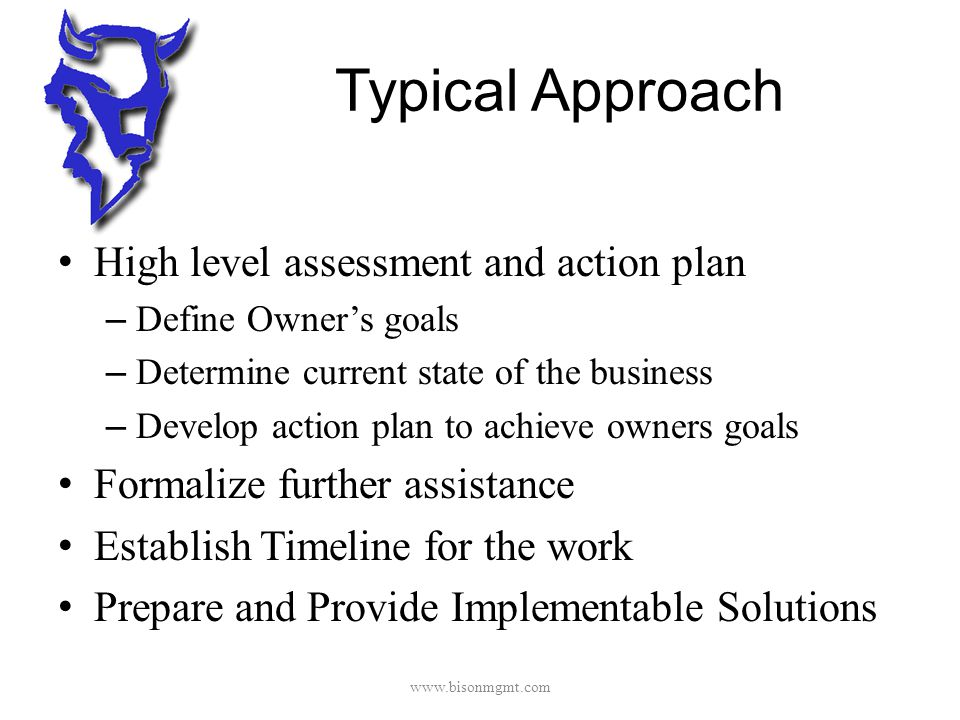 Typical Approach High level assessment and action plan – Define Owner's goals – Determine current state of the business – Develop action plan to achieve owners goals Formalize further assistance Establish Timeline for the work Prepare and Provide Implementable Solutions www.bisonmgmt.com