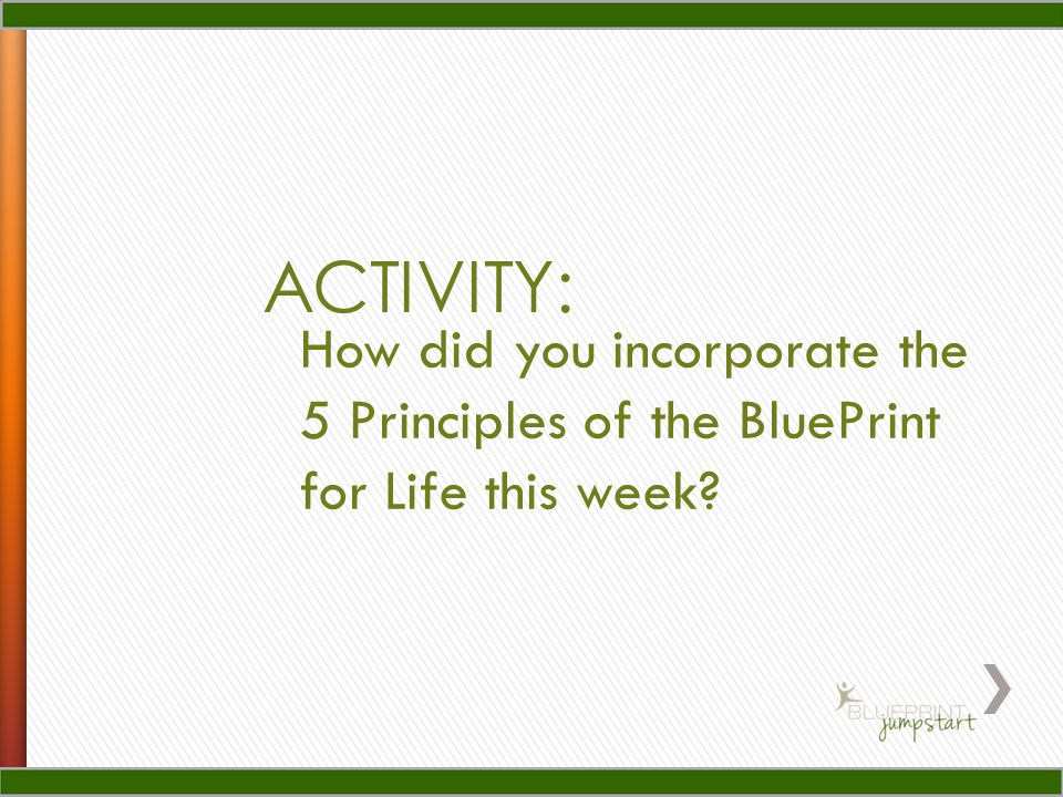 ACTIVITY: How did you incorporate the 5 Principles of the BluePrint for Life this week