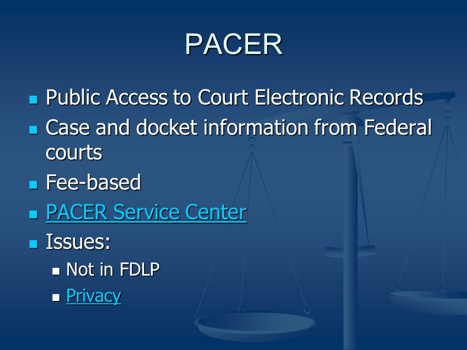 PACER Public Access to Court Electronic Records Public Access to Court Electronic Records Case and docket information from Federal courts Case and doc
