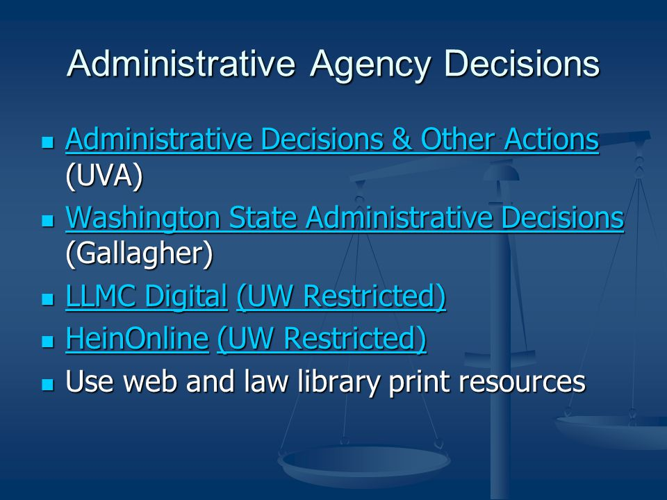 Administrative Agency Decisions Administrative Decisions & Other Actions (UVA) Administrative Decisions & Other Actions (UVA) Administrative Decisions