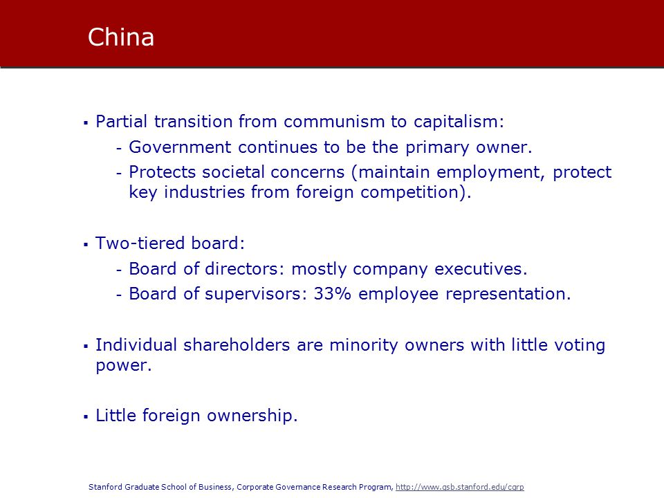 Stanford Graduate School of Business, Corporate Governance Research Program, http://www.gsb.stanford.edu/cgrphttp://www.gsb.stanford.edu/cgrp  Partial transition from communism to capitalism: - Government continues to be the primary owner.