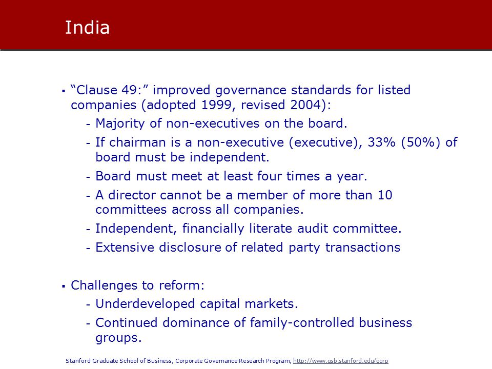 Stanford Graduate School of Business, Corporate Governance Research Program, http://www.gsb.stanford.edu/cgrphttp://www.gsb.stanford.edu/cgrp  Clause 49: improved governance standards for listed companies (adopted 1999, revised 2004): - Majority of non-executives on the board.