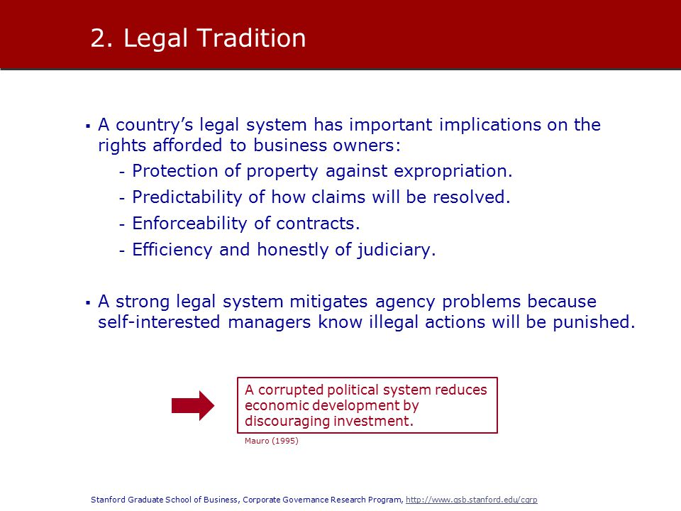 Stanford Graduate School of Business, Corporate Governance Research Program, http://www.gsb.stanford.edu/cgrphttp://www.gsb.stanford.edu/cgrp  A country's legal system has important implications on the rights afforded to business owners: - Protection of property against expropriation.