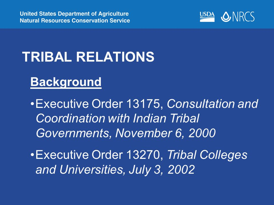 TRIBAL RELATIONS Background Executive Order 13175, Consultation and Coordination with Indian Tribal Governments, November 6, 2000 Executive Order 13270, Tribal Colleges and Universities, July 3, 2002