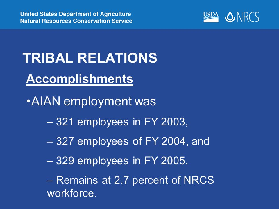 TRIBAL RELATIONS Accomplishments AIAN employment was – 321 employees in FY 2003, – 327 employees of FY 2004, and – 329 employees in FY 2005.
