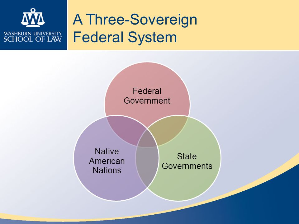 A Three-Sovereign Federal System Federal Government State Governments Native American Nations