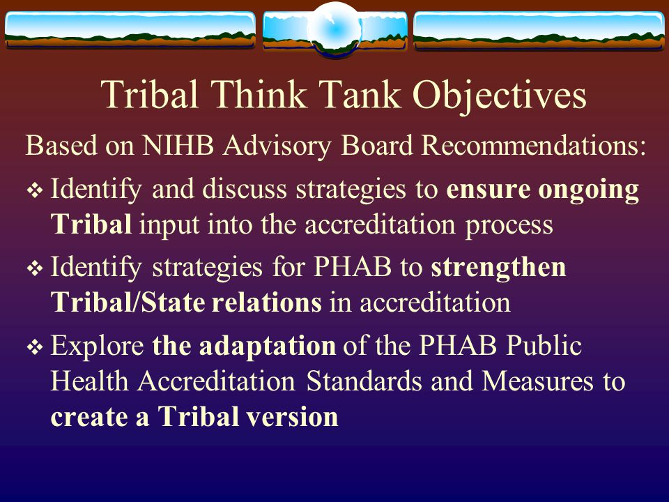 Tribal Think Tank Objectives Based on NIHB Advisory Board Recommendations:  Identify and discuss strategies to ensure ongoing Tribal input into the a
