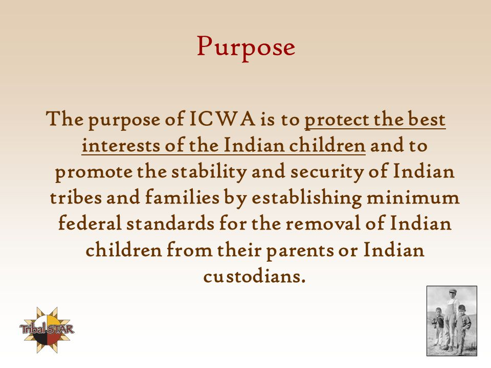 Purpose The purpose of ICWA is to protect the best interests of the Indian children and to promote the stability and security of Indian tribes and families by establishing minimum federal standards for the removal of Indian children from their parents or Indian custodians.