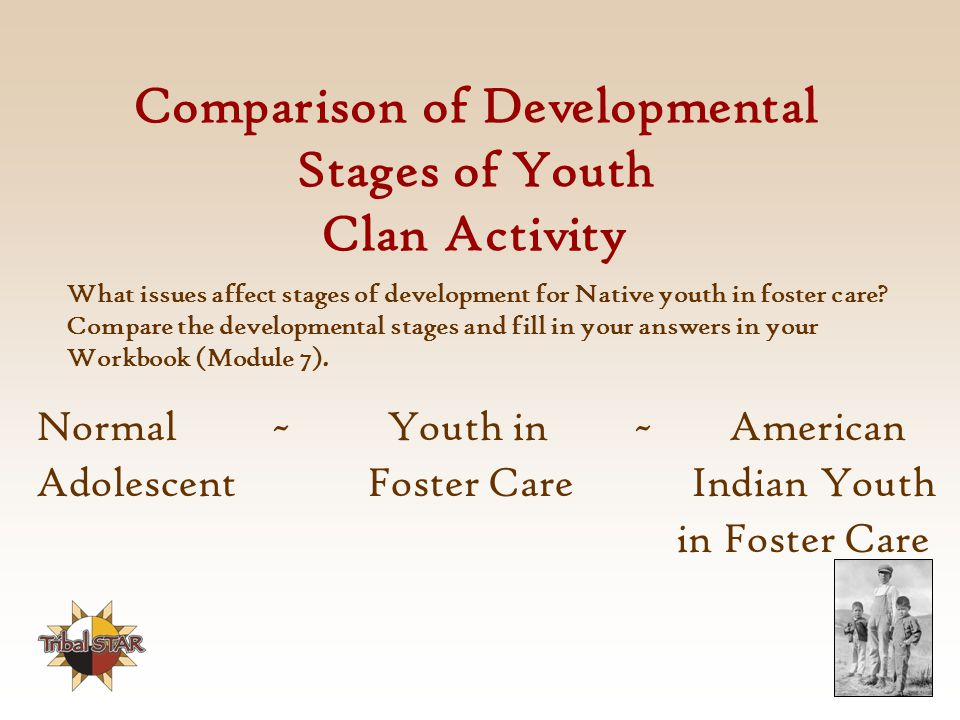 Comparison of Developmental Stages of Youth Clan Activity Normal ~ Youth in ~ American Adolescent Foster Care Indian Youth in Foster Care What issues affect stages of development for Native youth in foster care.
