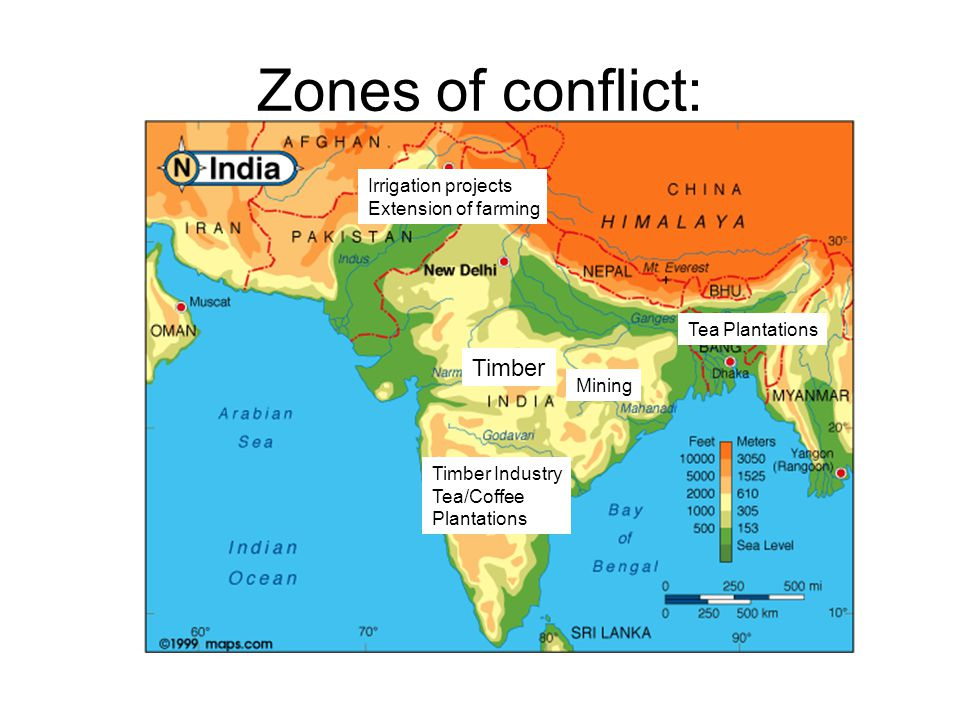 Zones of conflict: Irrigation projects Extension of farming Tea Plantations Mining Timber Industry Tea/Coffee Plantations Timber