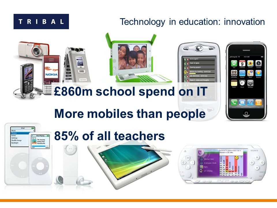 Technology in education: innovation £860m school spend on IT More mobiles than people 85% of all teachers