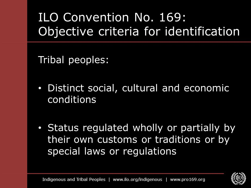 Indigenous and Tribal Peoples | www.ilo.org/indigenous | www.pro169.org ILO Convention No. 169: Objective criteria for identification Tribal peoples: