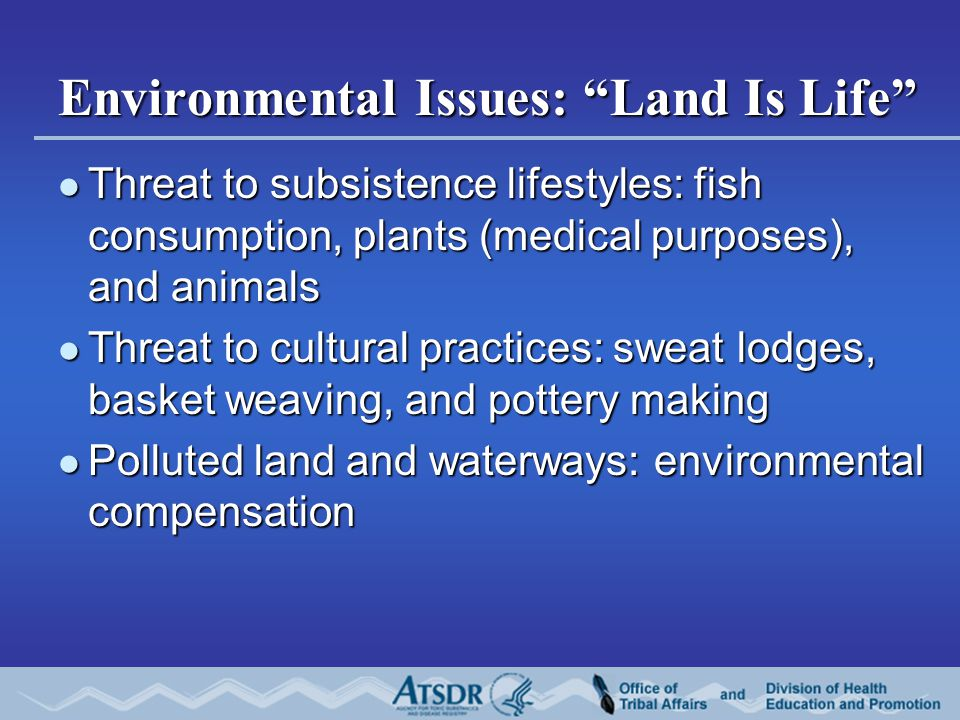 Environmental Issues: Land Is Life Threat to subsistence lifestyles: fish consumption, plants (medical purposes), and animals Threat to subsistence lifestyles: fish consumption, plants (medical purposes), and animals Threat to cultural practices: sweat lodges, basket weaving, and pottery making Threat to cultural practices: sweat lodges, basket weaving, and pottery making Polluted land and waterways: environmental compensation Polluted land and waterways: environmental compensation