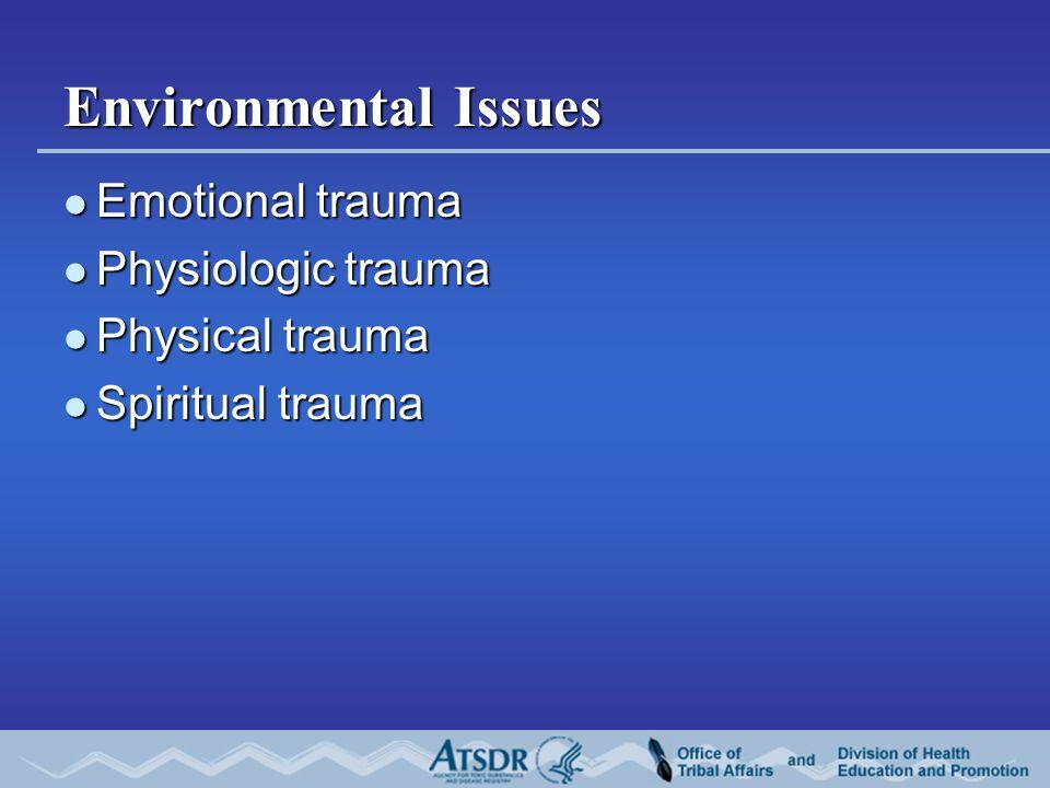 Environmental Issues Emotional trauma Emotional trauma Physiologic trauma Physiologic trauma Physical trauma Physical trauma Spiritual trauma Spiritual trauma