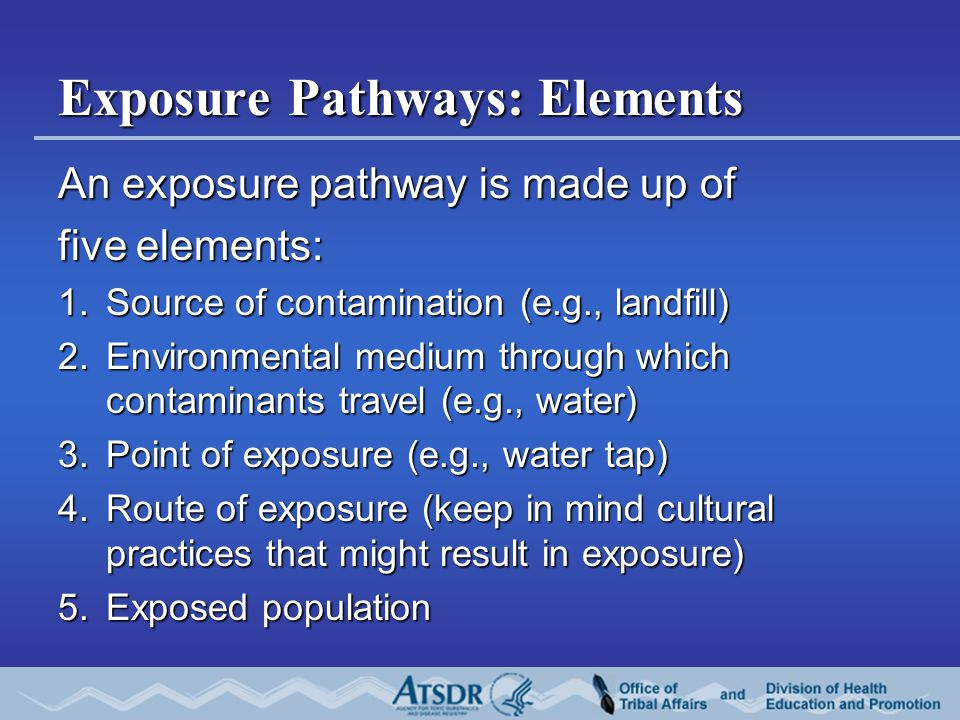 Exposure Pathways: Elements An exposure pathway is made up of five elements: 1.Source of contamination (e.g., landfill) 2.Environmental medium through which contaminants travel (e.g., water) 3.Point of exposure (e.g., water tap) 4.Route of exposure (keep in mind cultural practices that might result in exposure) 5.Exposed population