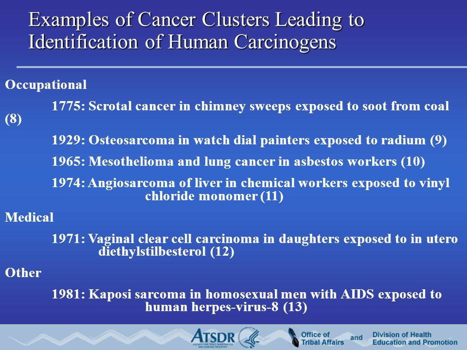 Examples of Cancer Clusters Leading to Identification of Human Carcinogens Occupational 1775: Scrotal cancer in chimney sweeps exposed to soot from coal (8) 1929: Osteosarcoma in watch dial painters exposed to radium (9) 1965: Mesothelioma and lung cancer in asbestos workers (10) 1974: Angiosarcoma of liver in chemical workers exposed to vinyl chloride monomer (11) Medical 1971: Vaginal clear cell carcinoma in daughters exposed to in utero diethylstilbesterol (12) Other 1981: Kaposi sarcoma in homosexual men with AIDS exposed to human herpes-virus-8 (13)