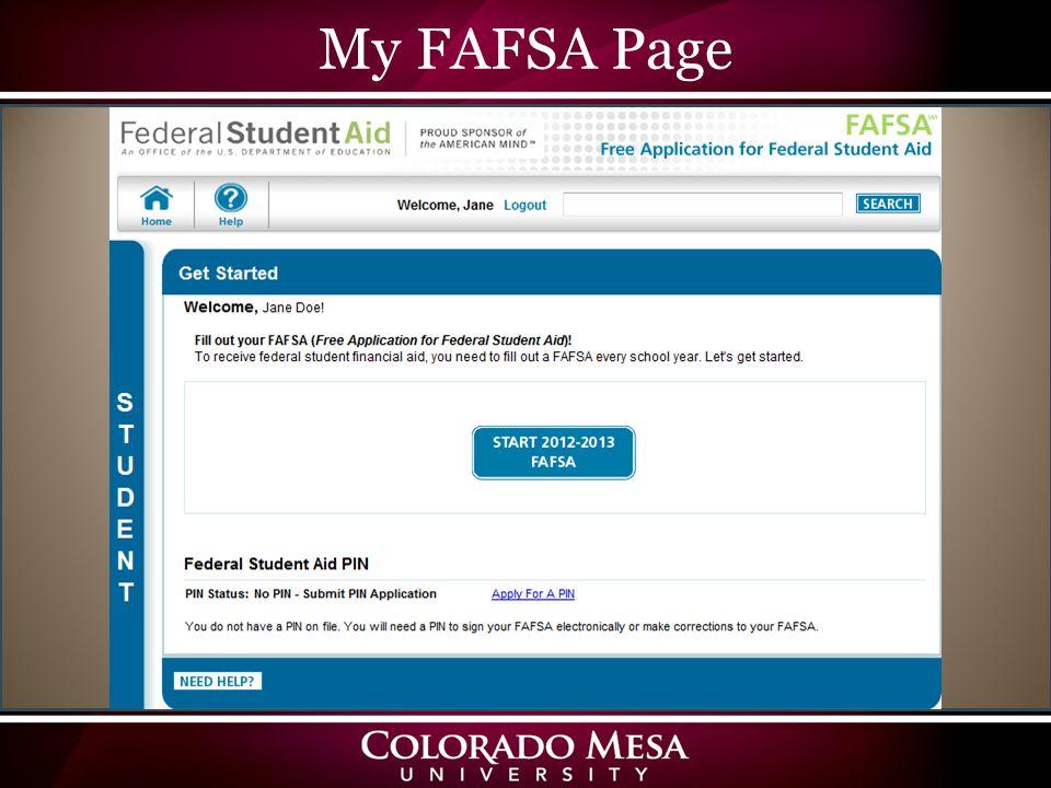 My FAFSA Page