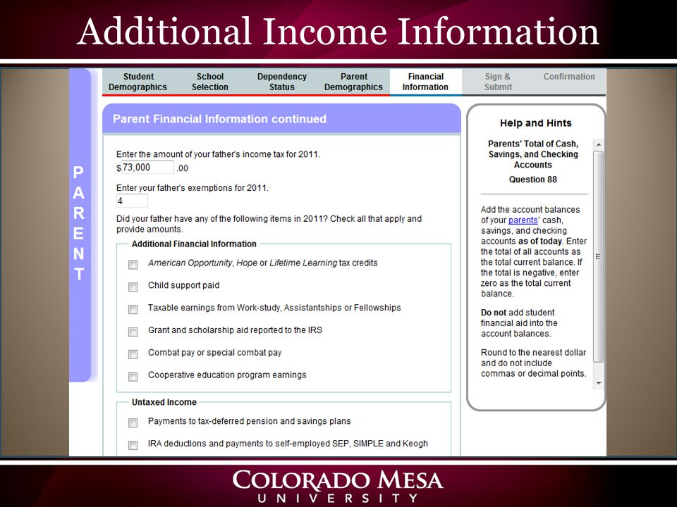 Additional Income Information